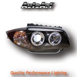 BMW 1-Series (04-) Black Angel Eye Headlights