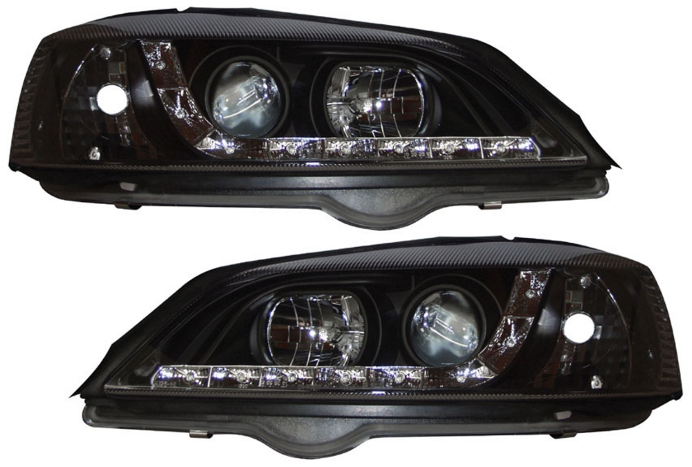 Vauxhall/Opel Astra G 98-04 R8 Style DRL Black Headlights [Image 2]