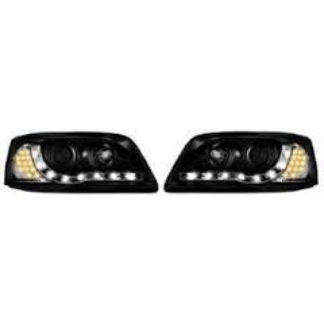 VW T5 TRANSPORTER 03-09 BLACK DRL STYLE HEADLIGHTS LED INDICATOR