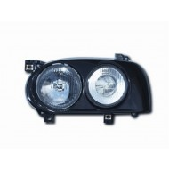 VW GOLF 3 (91-97) HEADLIGHTS - BLACK SURROUND/CLEAR LENS