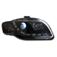 AUDI A4 B7 8EC 8ED 05-08 BLACK DEVIL EYE R8 DRL-LOOK HEADLIGHTS