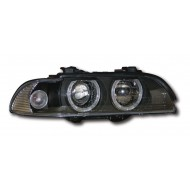 BMW 5-SERIES E39 PRE-FACELIFT (95-00) HEADLIGHTS - BLACK ANGEL EYES