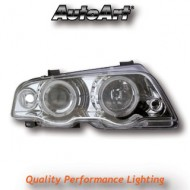 BMW 3-SERIES E46 SALOON 98-01 PROJECTOR CHROME ANGEL EYE HEADLIGHTS