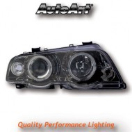 BMW 3-SERIES E46 SALOON 98-01 PROJECTOR HEADLIGHTS - BLACK ANGEL EYES