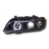 BMW X5 E53 (98-03) HEADLIGHTS - BLACK ANGEL EYES (RHD ONLY)