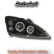 FORD FOCUS MK1 (98-01) HEADLIGHTS - BLACK ANGEL EYES  (RHD ONLY)