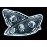 FORD FOCUS MK1 (01-04) HEADLIGHTS - BLACK POWORING ANGEL EYES (RHD Only)