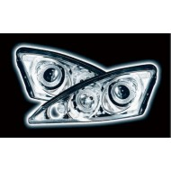 FORD FOCUS MK1 (98-04) PROJECTOR HEADLIGHTS - CHROME ANGEL EYES (RHD ONLY)