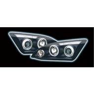 FORD FOCUS MK2 BLACK PROJECTOR LED HALO HEADLIGHTS