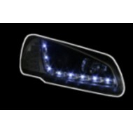 PEUGEOT 106 PHASE 2 (96-03) BLACK DRL AUDI STYLE HEADLIGHTS WITH LED INDICATORS