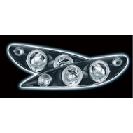 PEUGEOT 206 98-05 BLACK ANGEL EYE HEADLIGHTS