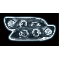 PEUGEOT 306 (97-02) HEADLIGHTS - BLACK ANGEL EYES (RHD ONLY)
