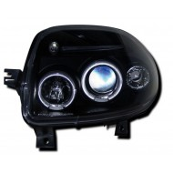 RENAULT CLIO 2 (98-01) HEADLIGHTS - BLACK ANGEL EYES (RHD ONLY)
