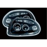 RENAULT CLIO 2 (98-01) HEADLIGHTS - BLACK ANGEL EYES (RHD ONLY)