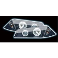 RENAULT MEGANE (02-05) HEADLIGHTS - BLACK ANGEL EYES (RHD ONLY)
