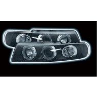 SEAT LEON (99-05) POWORING HEADLIGHTS - BLACK (RHD ONLY).