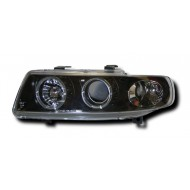 SEAT LEON (99-05)/TOLEDO HEADLIGHTS - BLACK ANGEL EYES (RHD ONLY).