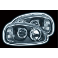 VAUXHALL CORSA B (93-00) HEADLIGHTS - BLACK ANGEL EYES (RHD ONLY)