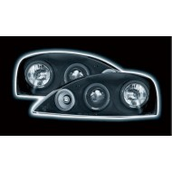 VAUXHALL CORSA C (01-04) HEADLIGHTS - BLACK ANGEL EYES (RHD ONLY)