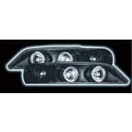 VAUXHALL VECTRA B FACELIFT (99-02) HEADLIGHTS - BLACK ANGEL EYES (RHD ONLY)