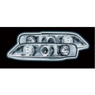 VAUXHALL VECTRA B FACELIFT (99-02) HEADLIGHTS - CHROME ANGEL EYES (RHD ONLY)