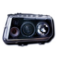 VW BORA (98-) HEADLIGHTS - BLACK ANGEL EYES (RHD ONLY)