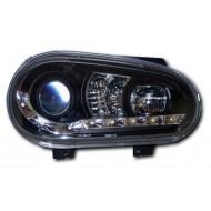 VW GOLF 4 98-02 BLACK DRL HEADLIGHTS