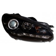 VW GOLF 6 09- BLACK DRL HEADLIGHTS