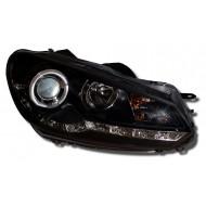 VW GOLF 6 09- BLACK DRL HEADLIGHTS