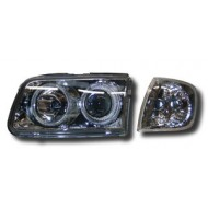 VW POLO 4 FACELIFT (99-01) HEADLIGHTS - CHROME ANGEL EYES (WITH SEP. INDICATORS)