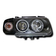 VW POLO 4 (95-98) HEADLIGHTS - BLACK ANGEL EYES (RHD ONLY)