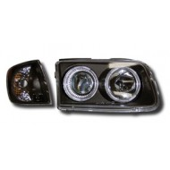 VW POLO 4 FACELIFT (99-01) HEADLIGHTS - BLACK ANGEL EYES (WITH SEP. INDICATORS)