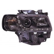 VW T4 CARAVELLE EUROVAN 94-03 BLACK DRL HEADLIGHTS