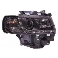 VW T4 CARAVELLE EUROVAN 94-03 BLACK DRL HEADLIGHTS