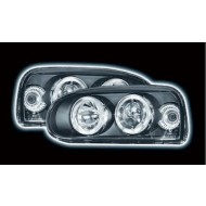 VW GOLF 3 (92-97) POWORING HEADLIGHTS - BLACK ANGEL EYES (RHD ONLY)
