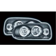 VW GOLF 3 (92-97) POWORING HEADLIGHTS - BLACK ANGEL EYES (RHD ONLY)
