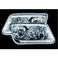 VW BORA (98-) HEADLIGHTS - CHROME ANGEL EYES (RHD ONLY)