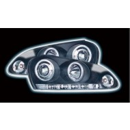 VW GOLF 5 (03-) HEADLIGHTS - BLACK ANGEL EYES WITH RUNNING LIGHT STRIP