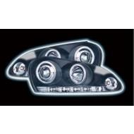 VW GOLF 5 (03-) HEADLIGHTS - BLACK ANGEL EYES WITH RUNNING LIGHT STRIP