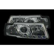 VW PASSAT - 4 DOOR 97-00 AUDI STYLE DRL CHROME HEADLIGHTS